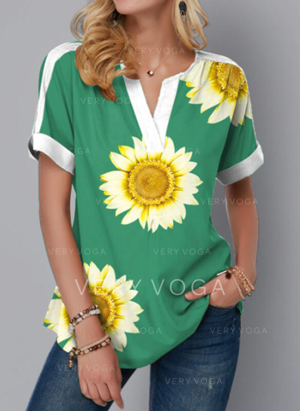 """Print Sunflower Výstřih do """"V"""" Krátké rukávy Tricouri"""