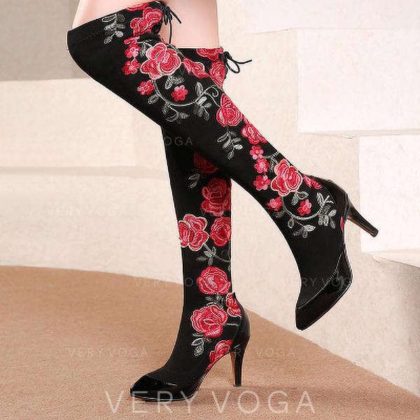 Mulheres Microfibra Couro Salto agulha Bota em cima do joelho com Flor sapatos