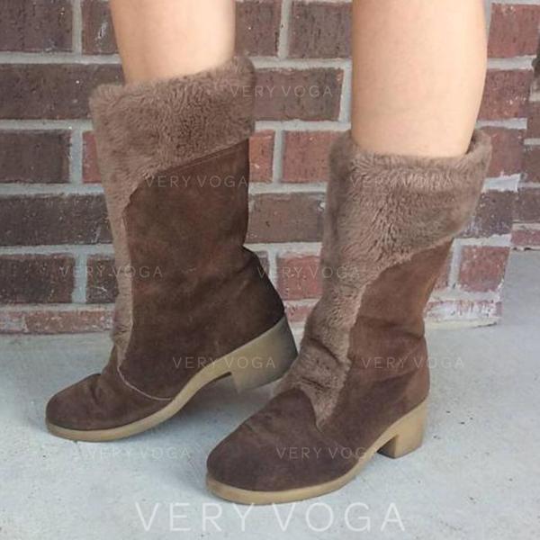 Femmes Suède Talon bottier Bottes mi-mollets avec Fausse Fourrure chaussures