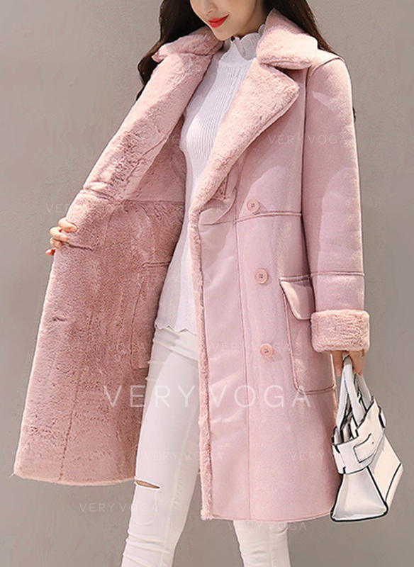 Polyester Long Sleeves Plain Shearling Coats