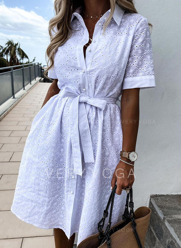 Solid Short Sleeves A-line Above Knee Casual/Vacation Shirt/Skater Dresses