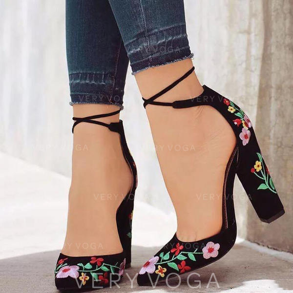 Women's PU Chunky Heel Pumps With Lace-up Flower shoes
