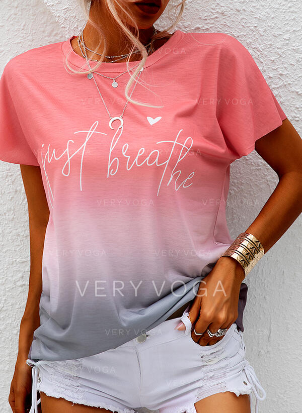 Print Figure Gradient Heart Round Neck Short Sleeves Casual T-shirts