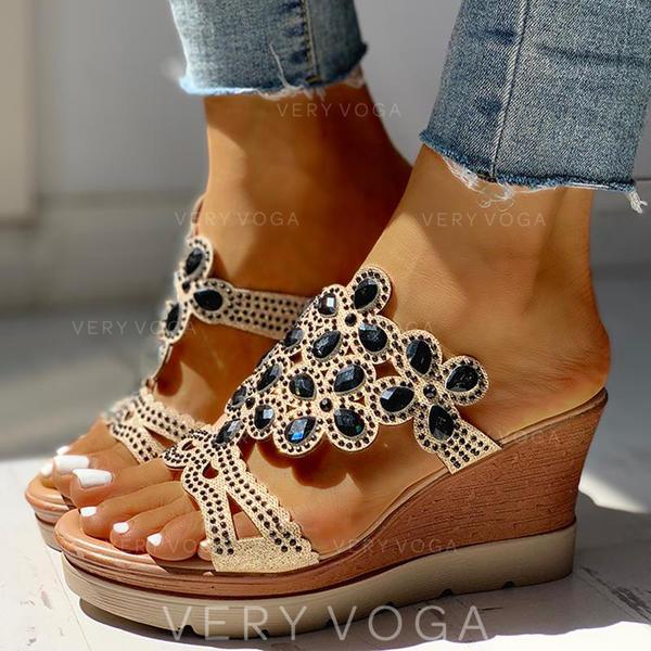 Női PU Ékelt sarkú Szandál Ékelt szandál Peep Toe Papucs Sarok -Val Hegyikristály cipő
