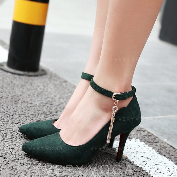 Women's Suede Stiletto Heel Pumps With Buckle Tassel shoes