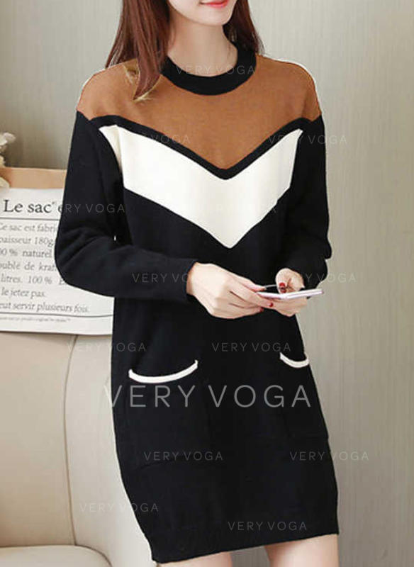 Color Block Long Sleeves Shift Above Knee Casual Dresses