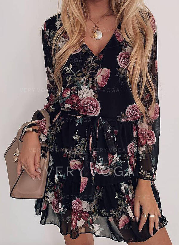 Print Long Sleeves A-line Above Knee Casual Dresses