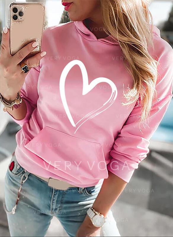 baskı Kalp Uzun kollu Kapüşonlu svetşört