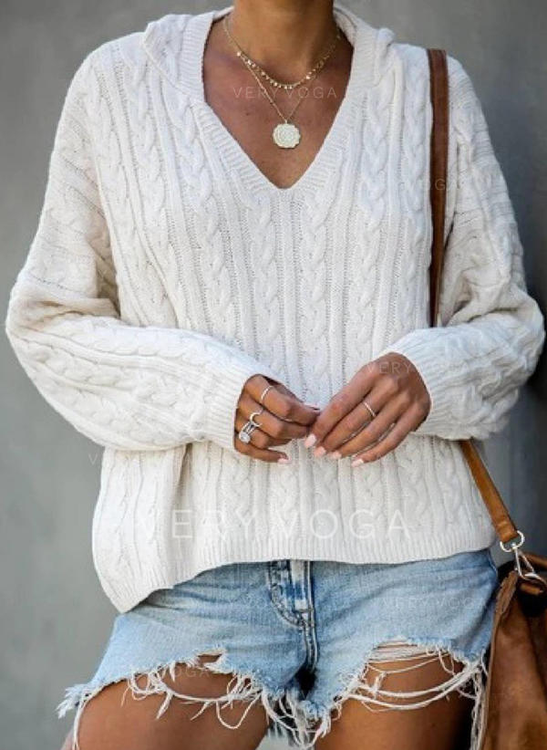 Solid Cable-knit V neck Sweaters