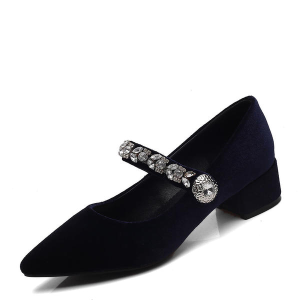 Women's Suede Low Heel Pumps Closed Toe Mary Jane With Rhinestone shoes