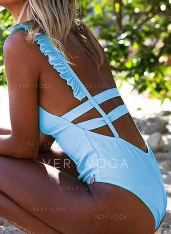 Wave Cut Backless Cross Bandage Strap Halter V-Neck Sexy Cute Colorful Casual One-piece Swimsuits