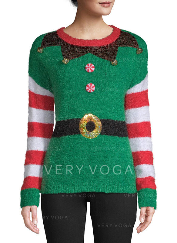 Donna Poliestere Stampa A righe Maglione di Natale brutto