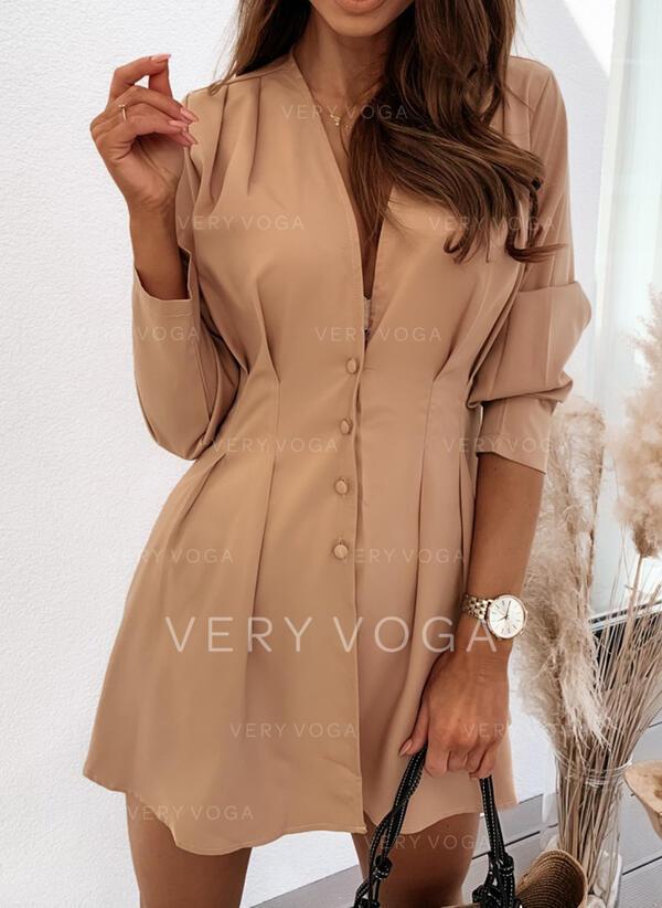 Solid Long Sleeves A-line Above Knee Casual/Elegant Skater Dresses