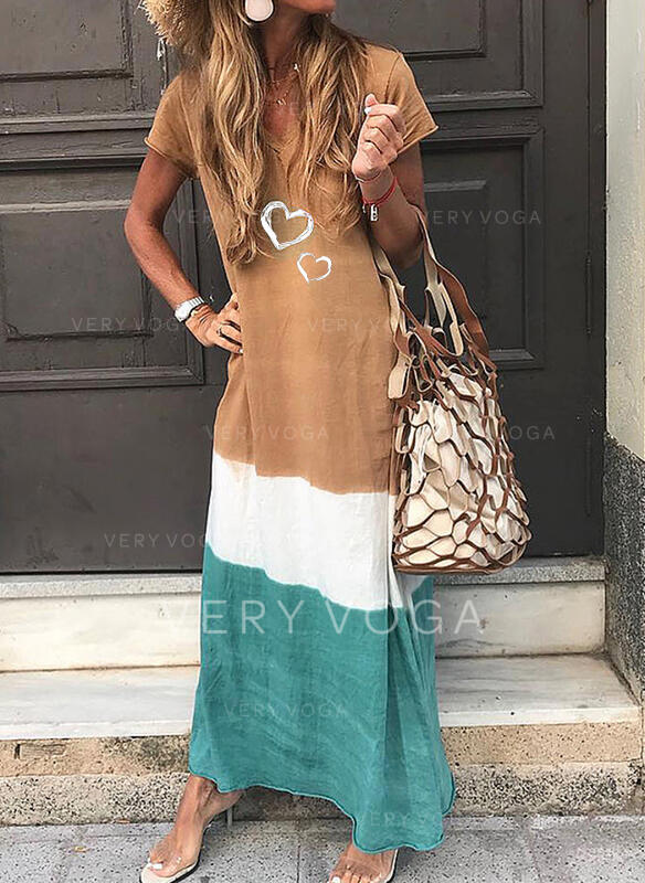 Print/Color Block/Heart Short Sleeves Shift T-shirt Casual Maxi Dresses