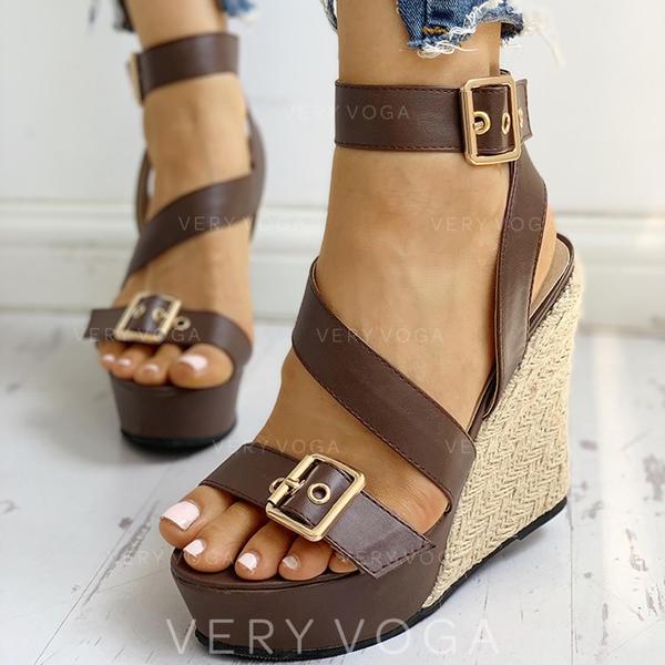 Vrouwen PU Wedge Heel Sandalen Peep Toe met Gesp schoenen
