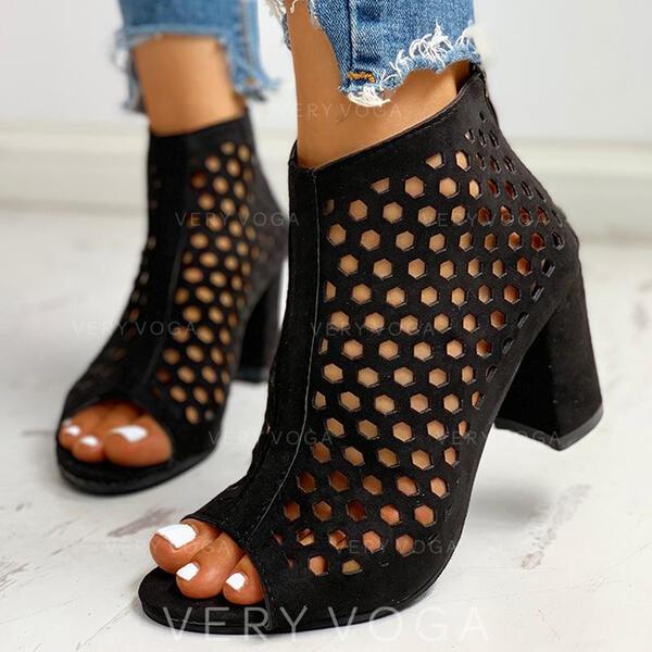 Dla kobiet Zamsz Obcas Slupek Czólenka Otwarty Nosek Buta Z Tkanina Wypalana obuwie