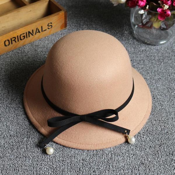 Dames Style Classique de mélanges de laine Disquettes Chapeau