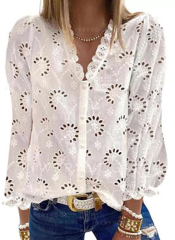 Solide V-hals Lange Mouwen Dichtknopen Casual Pailletten Overhemd