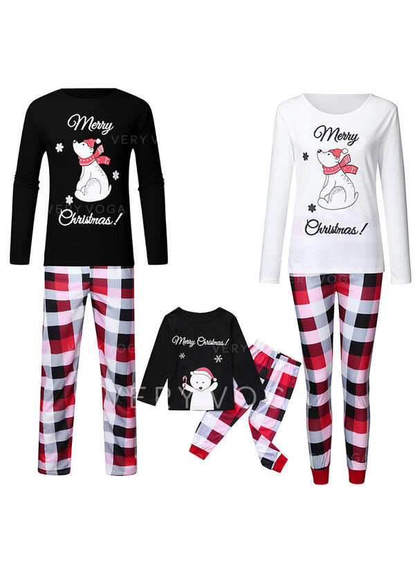 Bear Plaid Print Family Matching Christmas Pajamas