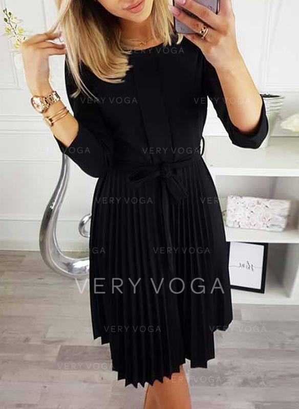 Solid 34 Sleeves A Line Knee Length Little Blackcasual Dresses