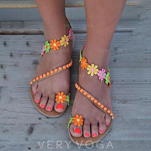 De mujer PU Tacón plano Sandalias con Arco del satén zapatos