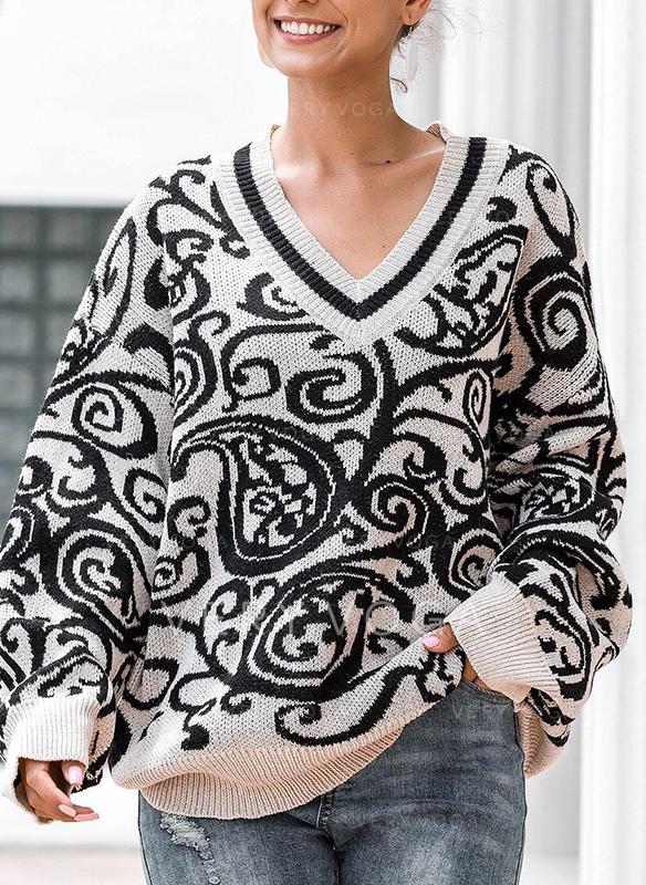 Print V neck Sweaters
