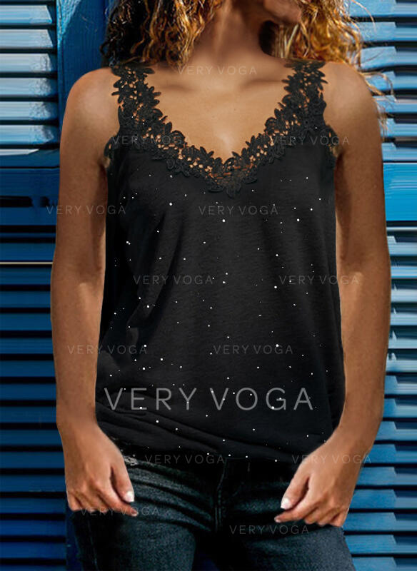 Print Lace Strap Sleeveless Casual Sexy Tank Tops