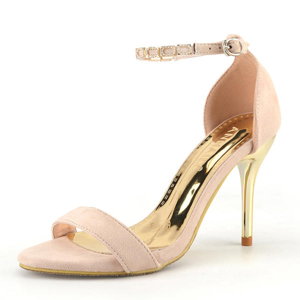 Women's Suede Mesh Stiletto Heel Pumps Peep Toe With Imitation Pearl Others Braided Strap Split Joint shoes