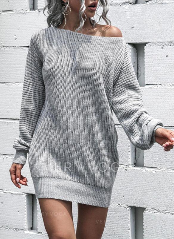 固体 ラウンドネック セクシー セータードレス