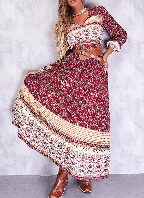 Imprimeu Mâneci Lungi Bir Çizgi Patenci Boho Maxi Elbiseler