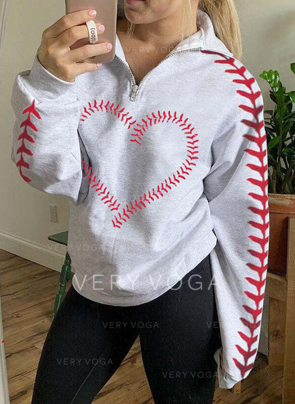 Print Heart Lapel Long Sleeves Sweatshirt