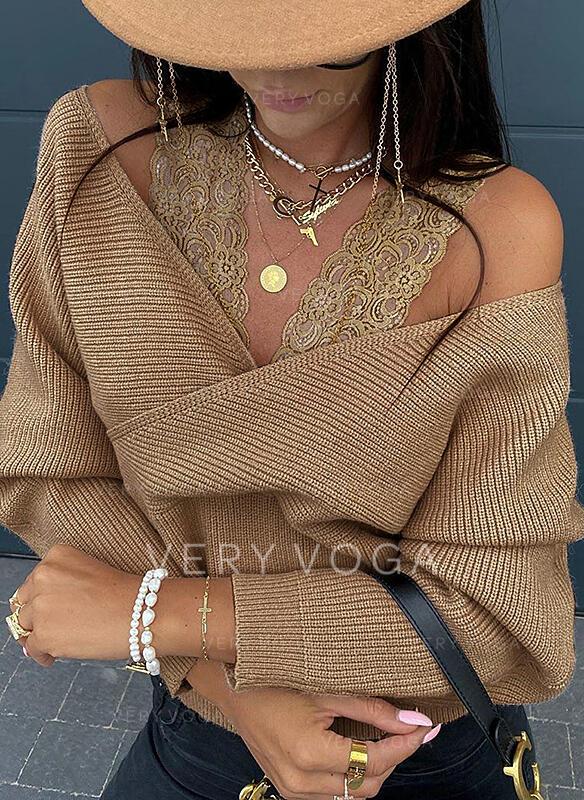 Sólido Renda Ombros à Mostra Sexy Suéteres