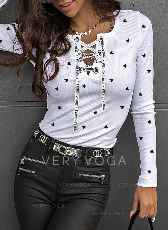 Print Heart V-Neck Long Sleeves Casual Knit Blouses