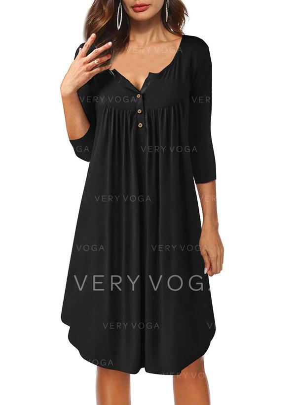 f5fe07b41a Couleur Unie Manches 3/4 Droite Longueur Genou Petites Robes  Noires/Décontractée Robes