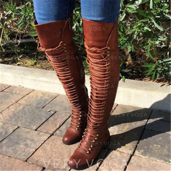 Vrouwen Kunstleer Low Heel Over De Knie Laarzen met Klinknagel Vastrijgen schoenen
