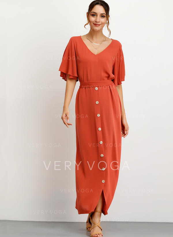 Solid Short Sleeves/Cold Shoulder Sleeve A-line Maxi Casual/Vacation Dresses