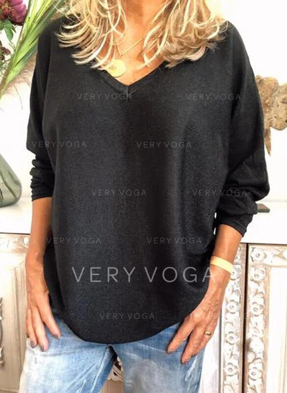 Solide V-hals Lange Mouwen Casual Basic Breiwerk T-shirts