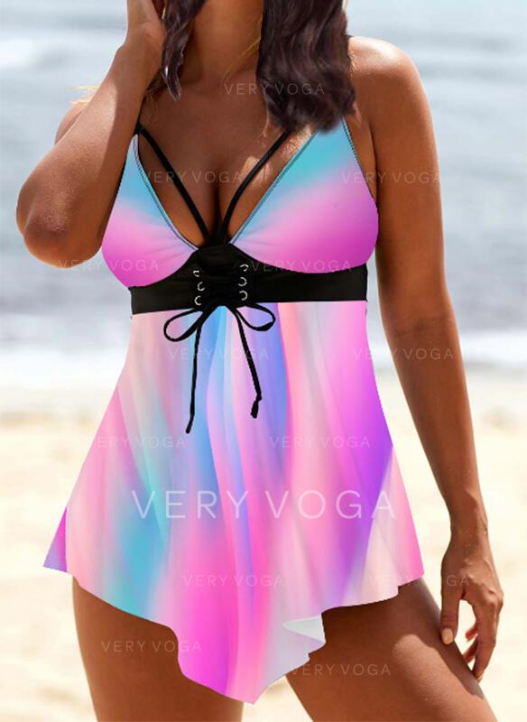 Print Splice color Strap V-Neck Sexy Vintage Swimdresses Swimsuits
