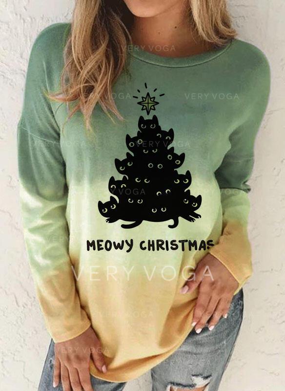 Boże Narodzenie Gradient Wytłaczany Okrągły dekolt Długie rękawy T-shirty