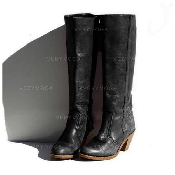 Donna PU Tacco spesso Stivali Stivali al ginocchio con Fibbia scarpe