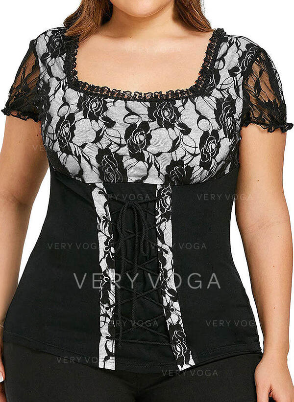 Patchwork Lace Square Collar Short Sleeves Casual Plus Size Blouses