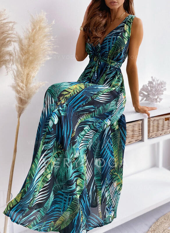 Print Sleeveless A-line Skater Casual Maxi Dresses