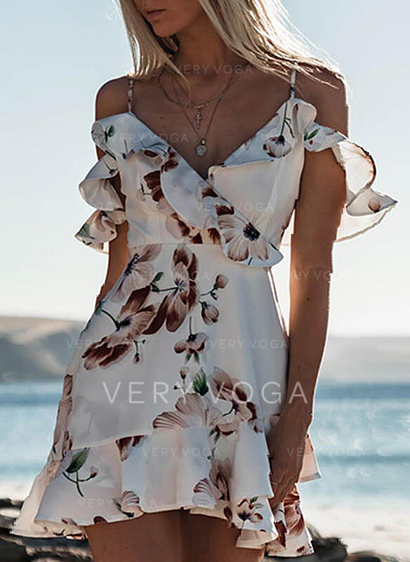Print/Floral Cold Shoulder Sleeve/Cap Sleeve Bodycon Above Knee Sexy/Casual/Vacation Dresses