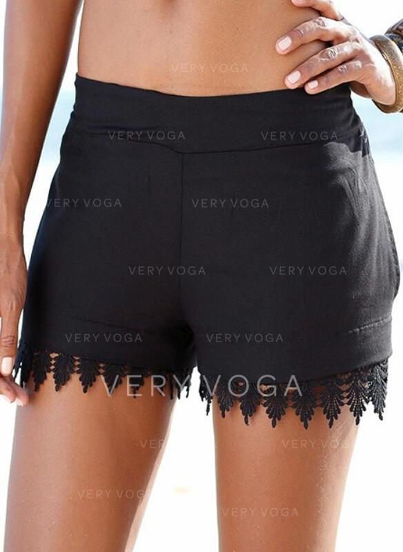 Solid Lace Casual Vintage Plus Size Pants Shorts