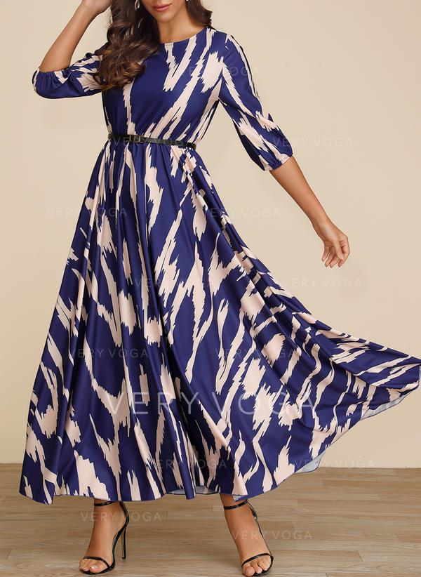Print 3/4 Sleeves A-line Maxi Casual/Elegant Dresses