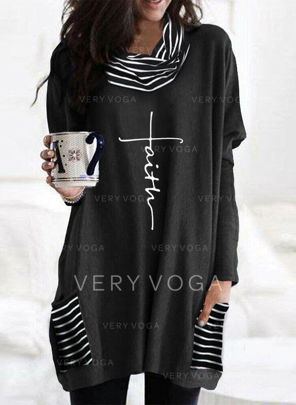 Print Striped High Neck Long Sleeves Sweatshirt