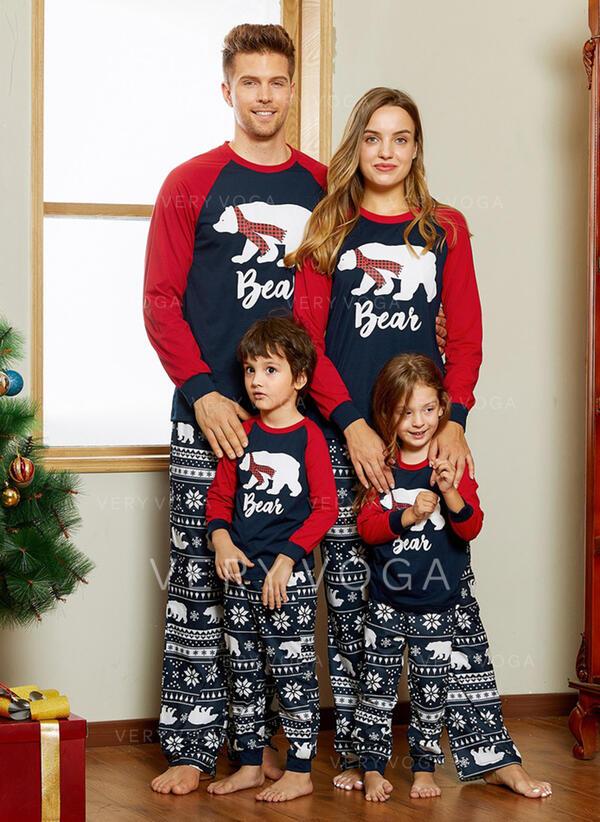 Bear Levél Nyomtatás Családi Karácsonyi pizsamák