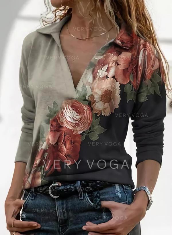 Stampa Floreale Risvolto Maniche lunghe Casuale Camicie