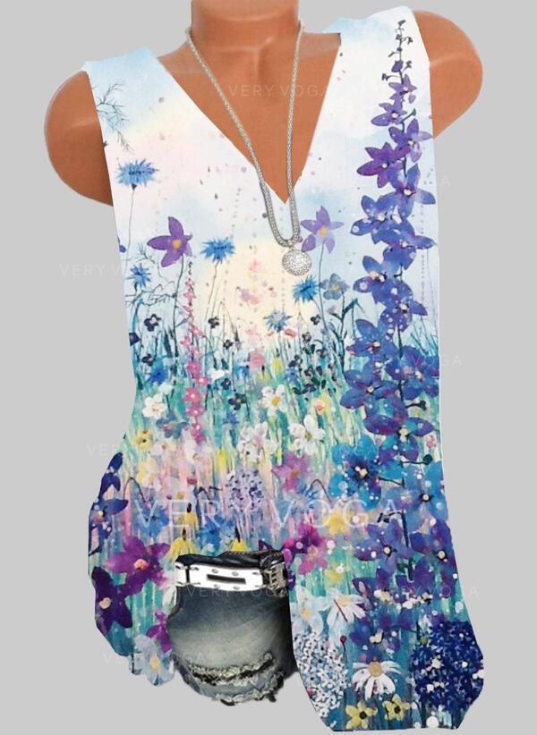 Estampado Floral Decote em V Sem Mangas Casual Camisetas regata