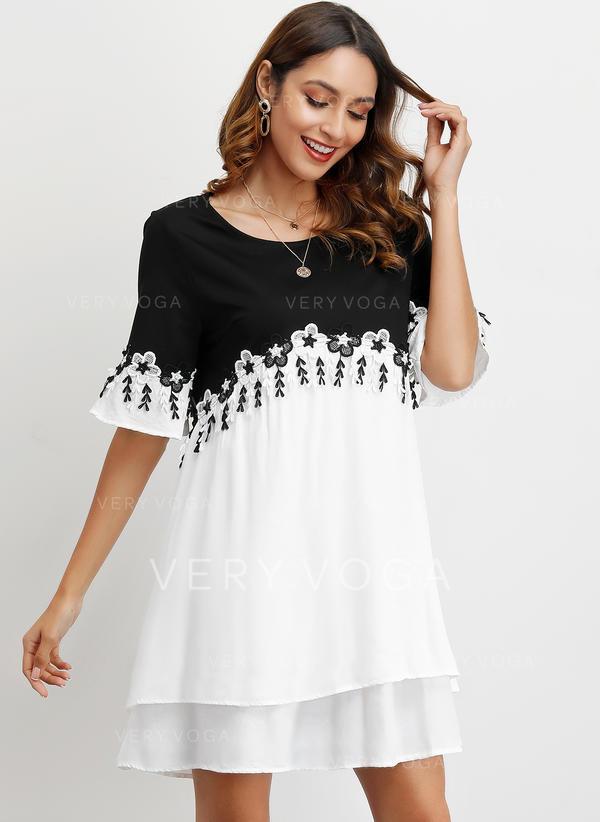 Color-block 1/2 Sleeves Shift Above Knee Casual/Elegant Dresses